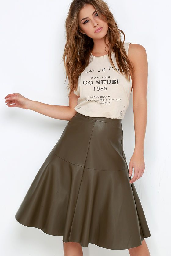 Ripple in Time Olive Green Vegan Leather Midi Skirt | Leather midi ...