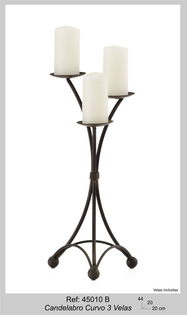 Candelabro Curvo 3 Velas 44x20x20cm Wrought Iron Candle Holders Candle Stand Metal Candle Holders