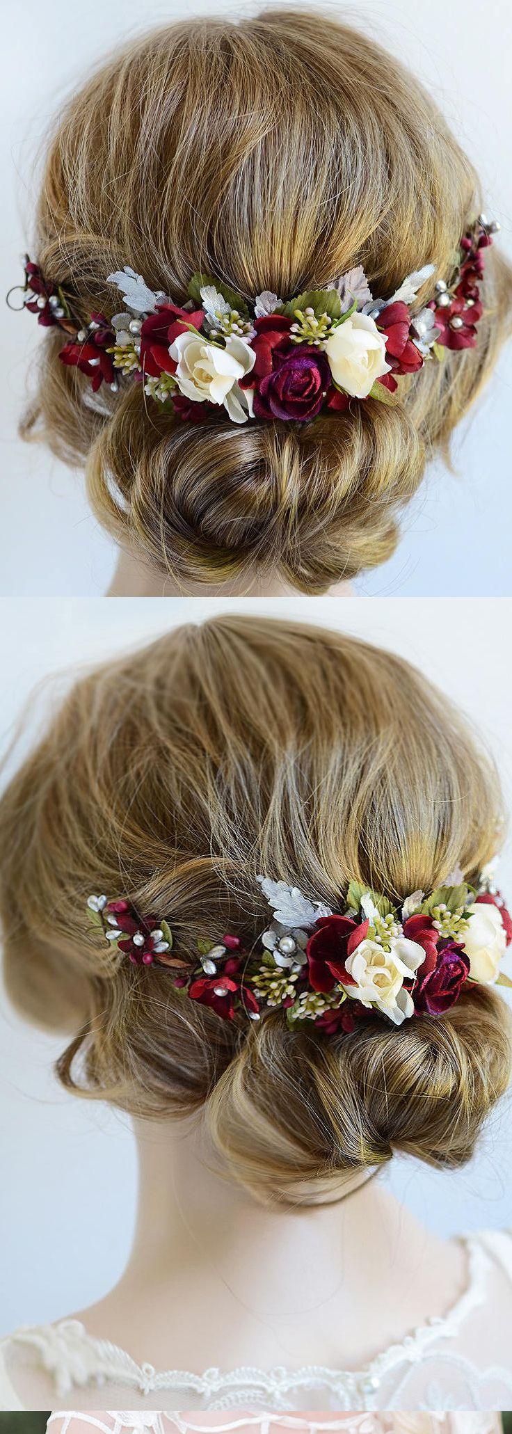 Christmas wedding bridal fascinator floral headpiece in burgundy