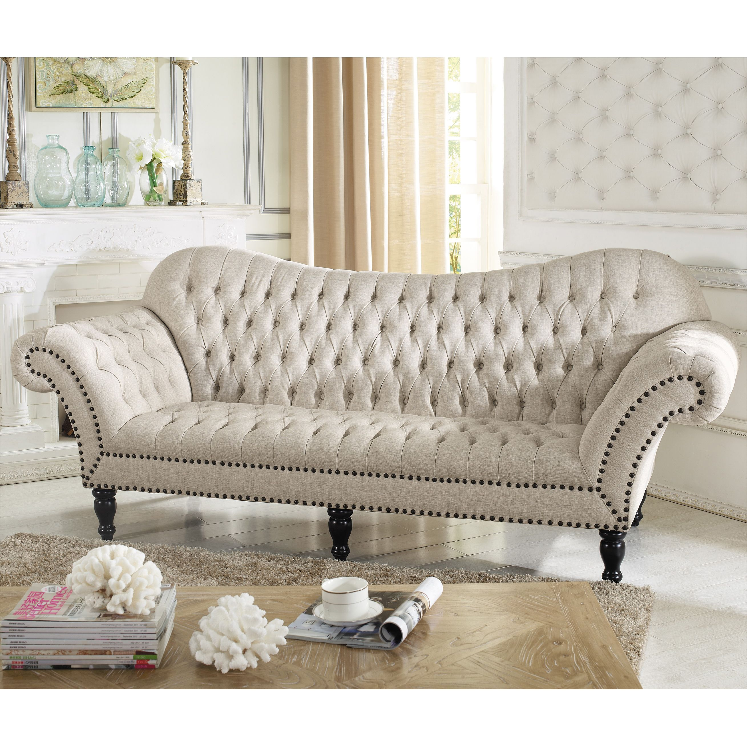 Fanciful With Ornate Detail, Lovers Of All Things Tufted And Feminine Will  Fall For The Bostwick Sofau0027s Old World Appeal. Updated With Simple Beige  Linen ...