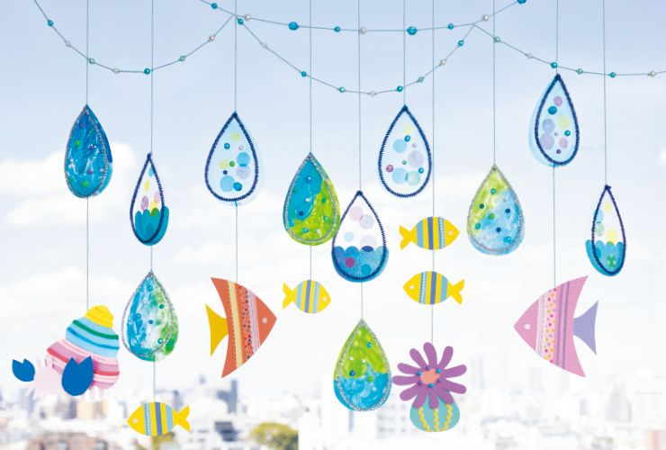 海モチーフの吊るし飾り 教室のデコレーション 手作りおもちゃ 1歳 壁 飾り 手作り