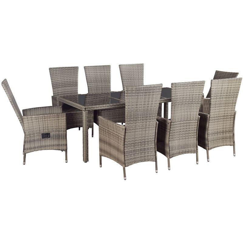 Artlife Polyrattan Sitzgruppe Rimini Plus 9 Teilig Grau Meliert Gartenmobel Set Mit Tisch 8 Stuhle Kissen G Gartenmobel Polyrattan Sitzgruppe Sitzgruppe