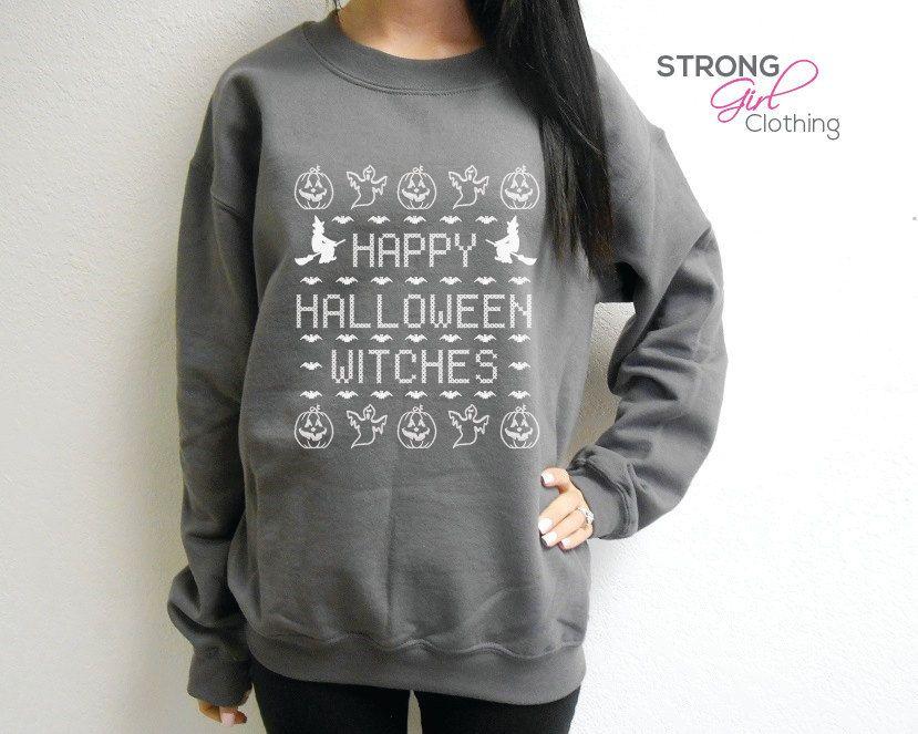 unisex happy halloween witches crew neck fleece sweatshirt ugly halloween sweater happy halloween witches