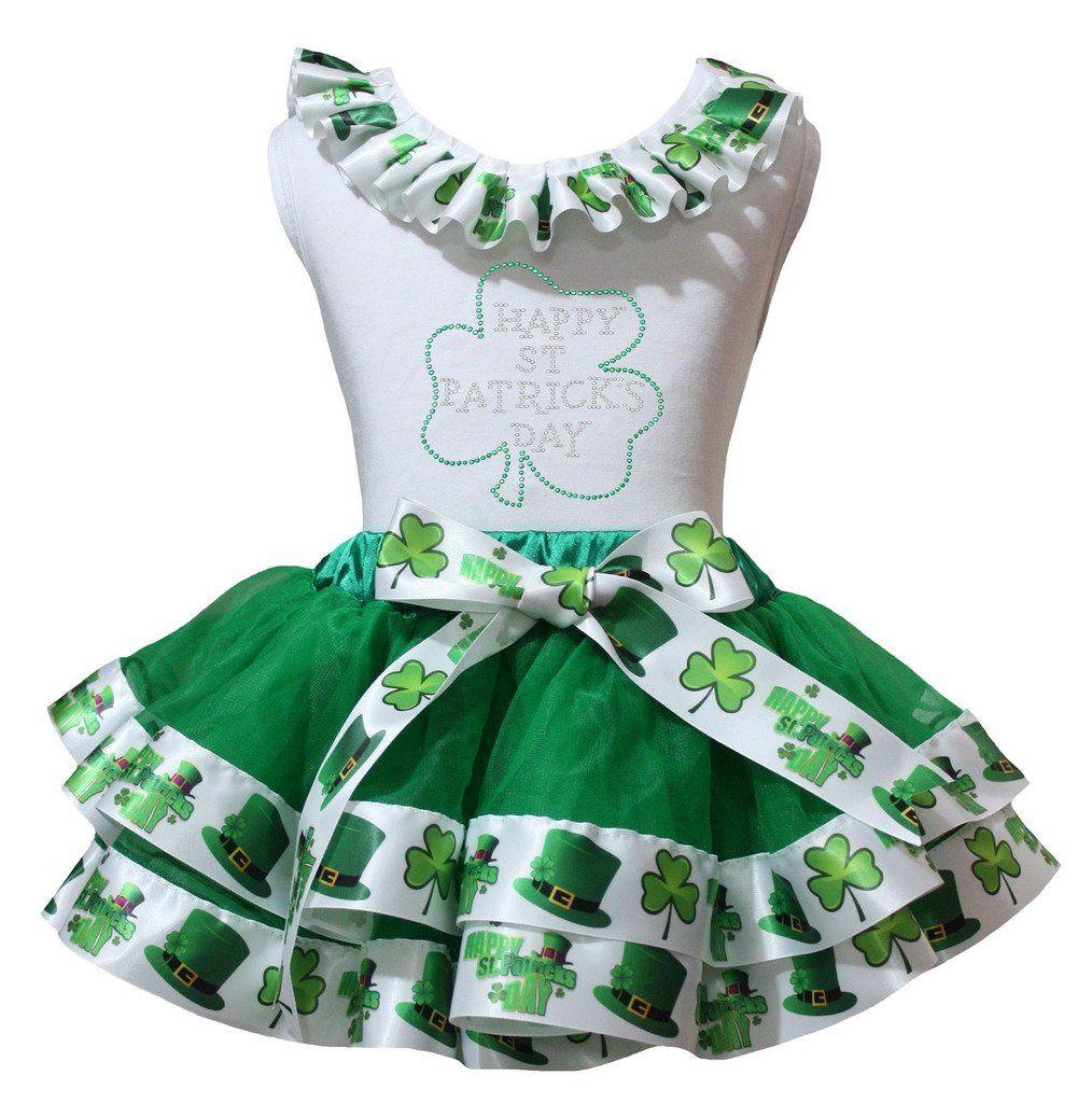 Petitebella Sequins Clover Shirt Trefoils Ribbon White Petal Skirt Set Nb-8y