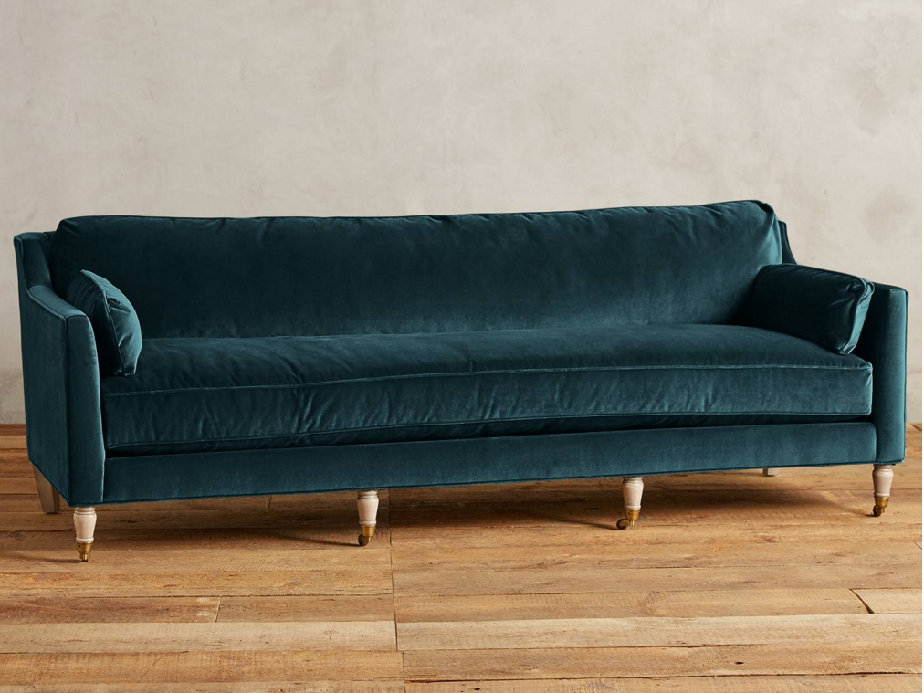 Teal Sofa Bench Seat Single Back Cushion Turned Legs With Castors Velvet Velour