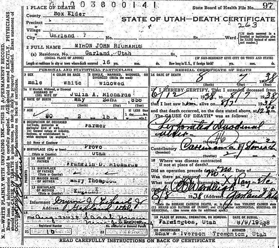 Utah Death Certificate Myron John Richards Young Hogan Family