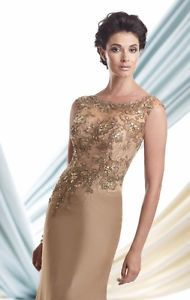 Custom Size Champagne Beaded Appliques Mother of the Bride Dresses Chiffon