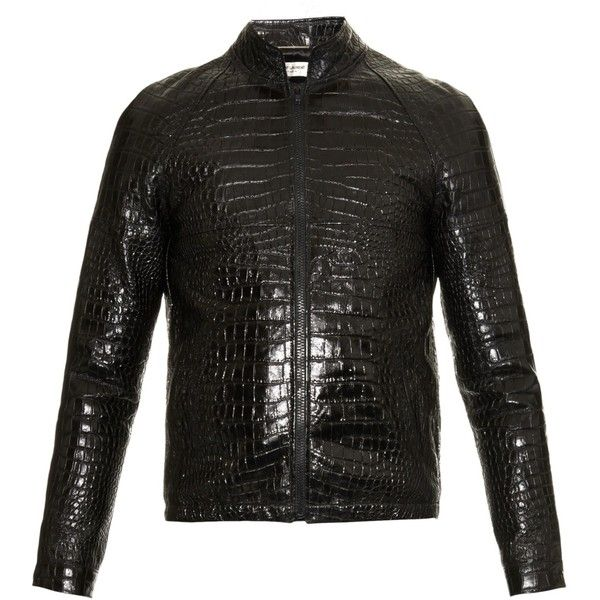 2e4e7dbd4 Saint Laurent Crocodile-effect leather bomber jacket ($2,394 ...
