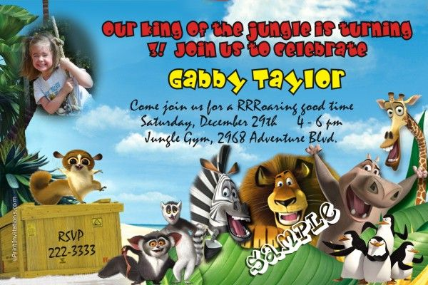 Madagascar Birthday Invitations Get these invitations RIGHT NOW - create invitations online free no download