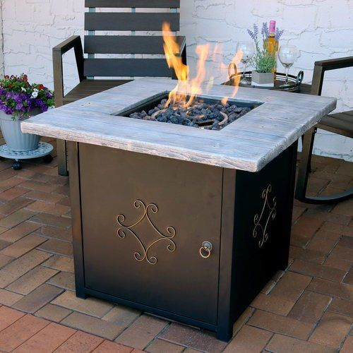 Sunnydaze Outdoor 30-Inch Square Propane Gas Fire Pit Table with Lava Rocks -   24 small garden fire pit ideas