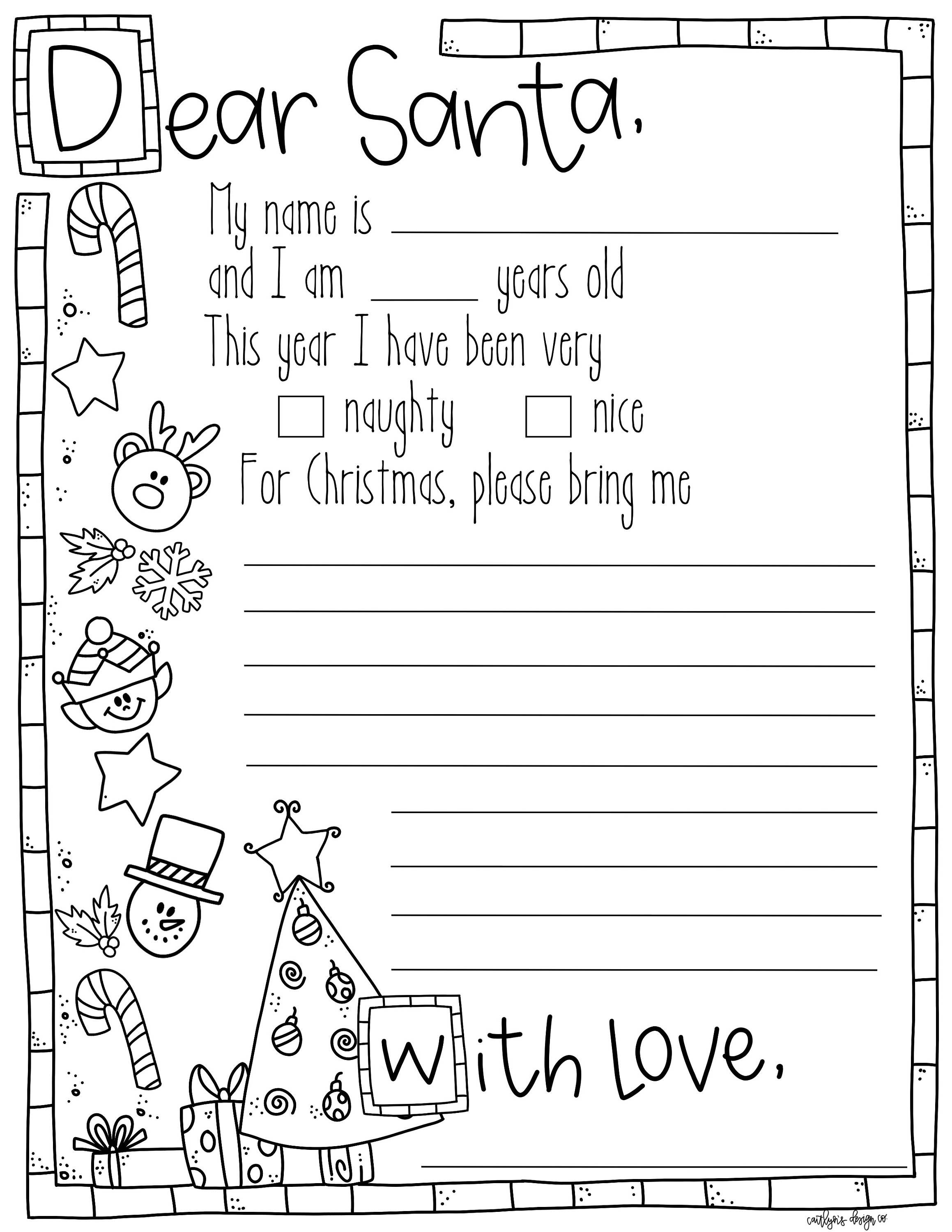 Letter To Santa Coloring Page By Caitlynsdesignco On Etsy