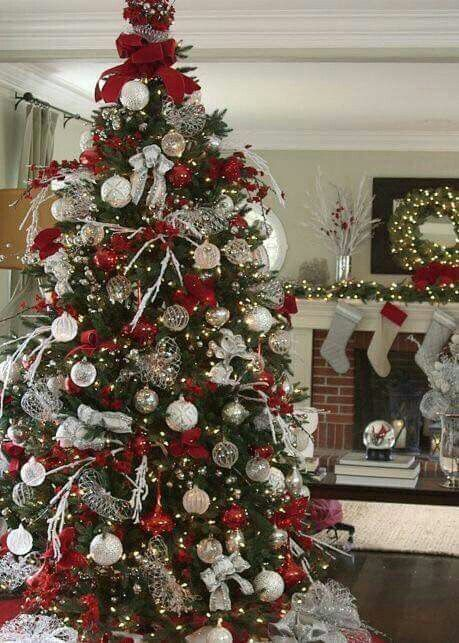 Maroon Silver Ornaments Christmas Tree Themes Christmas Decorations Beautiful Christmas Trees