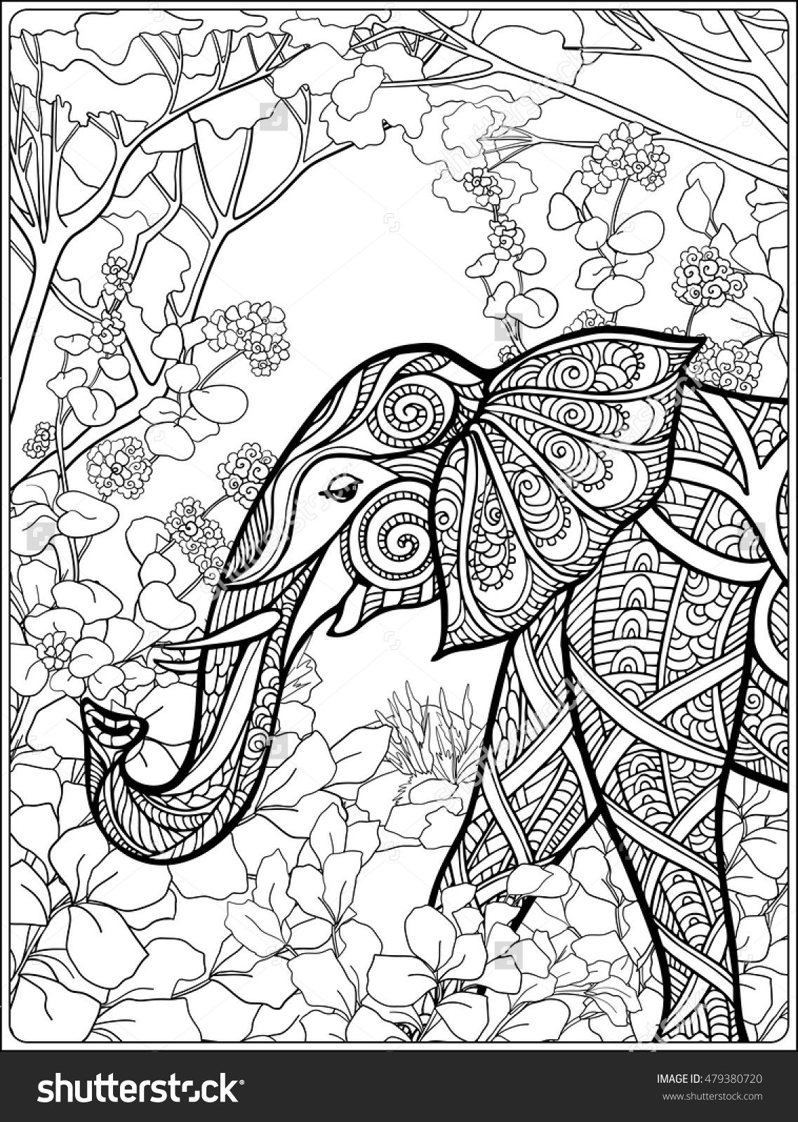 elephant in the forest coloring page for adults : Shutterstock ...