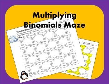 Multiplying Binomials Foil Maze Activity Algebra Board