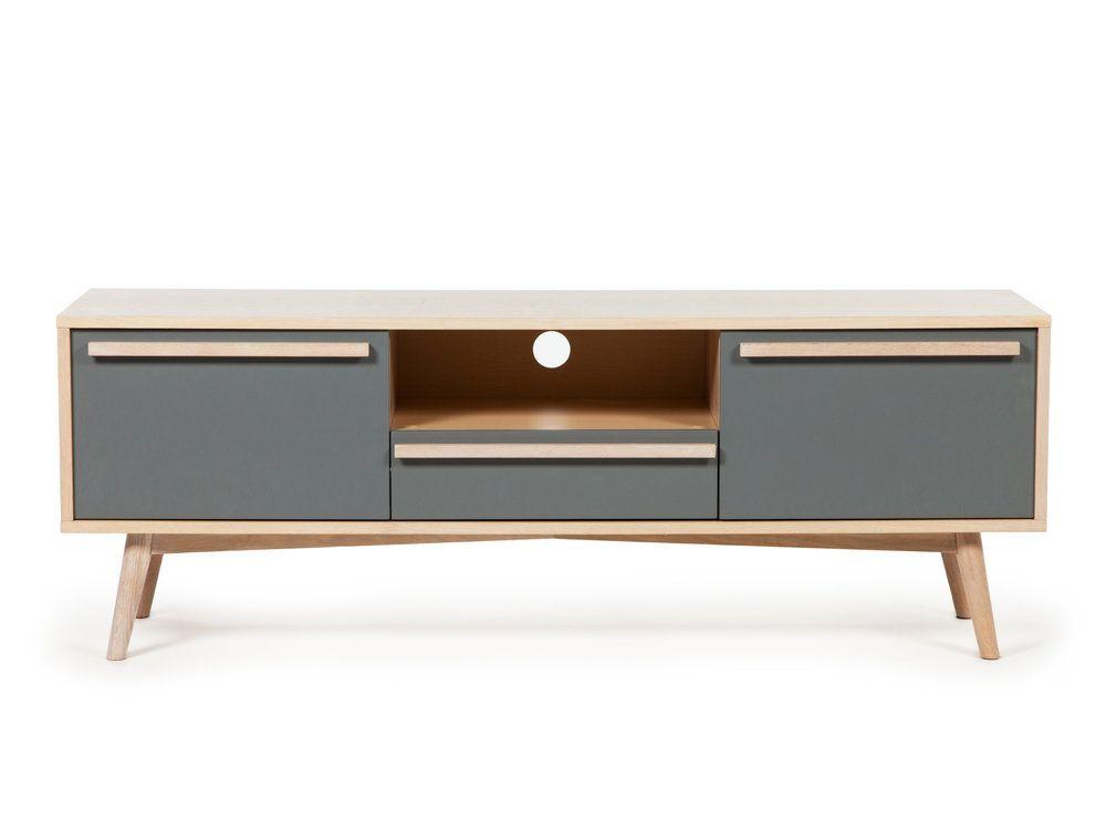 Meuble TV 2 portes 1 tiroir 1 niche en bois Longueur 150 cm NILS