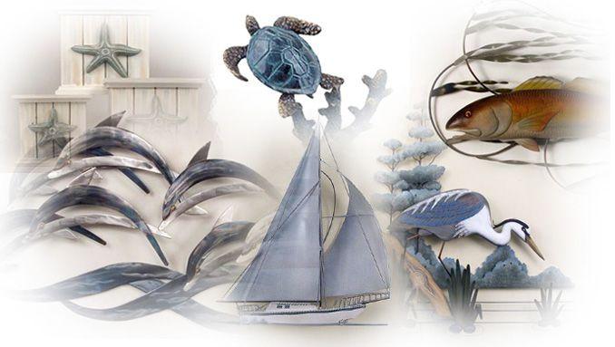 Nautical Metal Wall Art Tropical Gifts Beach Decor