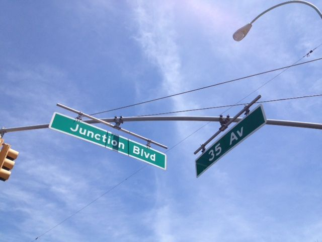 A Bit East Of Jackson Heights Junction Blvd Street Sign Corona Queens Nyc City Sign Jackson Heights Street Signs