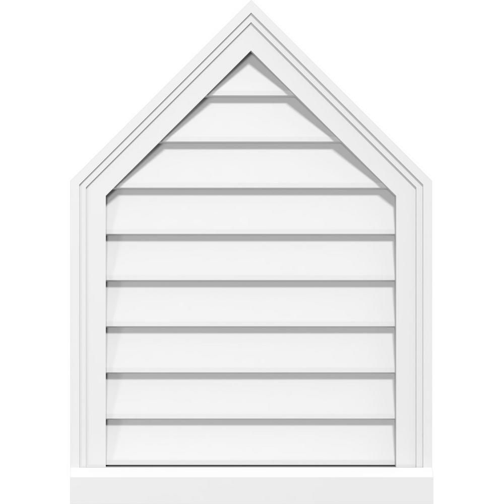 Ekena Millwork 34 In X 16 In Peaked Top Surface Mount Pvc Gable Vent 6 12 Pitch Decorative With 2 In X 2 In Brickmould Sill Frame White In 2020 Gable Vents Louver Vent Frame