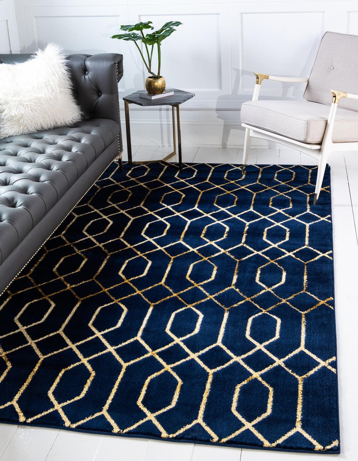 Navy Blue Gold Marilyn Monroe 2 X 3 Marilyn Monroe Glam Trellis Rug Area Rugs Rugs Com Navy Bedrooms Navy Living Rooms Luxury Rug #navy #blue #and #gold #living #room #ideas