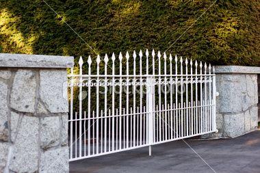 White Metal Fence In Autumn White Metal Vintage Graphic Design Outdoor Decor