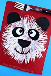 Gabel drucken Panda Bear Kids Craft - schlauer Morgen Check more at https://kidscrafts.feneda...