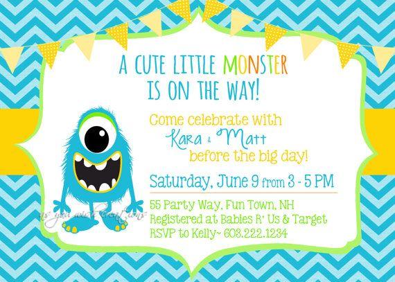 monster baby shower boy invite chevron polka dots cute green, Baby shower invitations