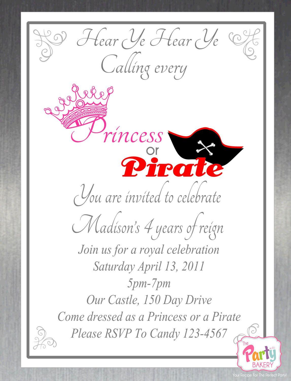 Printable DIY Princess and Pirate Party Invitation. $10.00, via Etsy ...