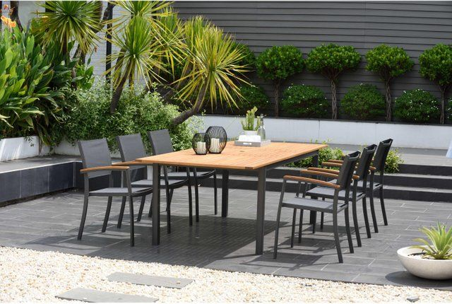 Table De Jardin Kingsburry Rectangulaire Naturel Et Gris 6 8