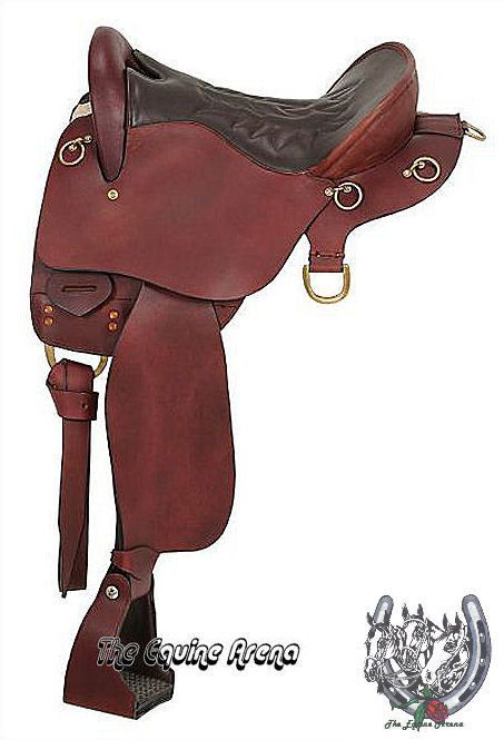 """16/"""" Inch New Western Semi Leather Synthetic Pleasure Trail Horse Saddle Brown"""