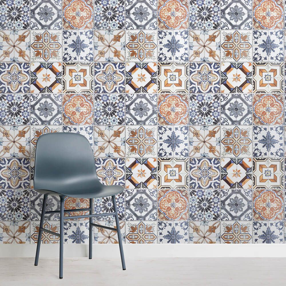 Multicoloured Portuguese Tile Effect Wallpaper Mural Murals Wallpaper Tile Wallpaper Portuguese Tile House Tiles