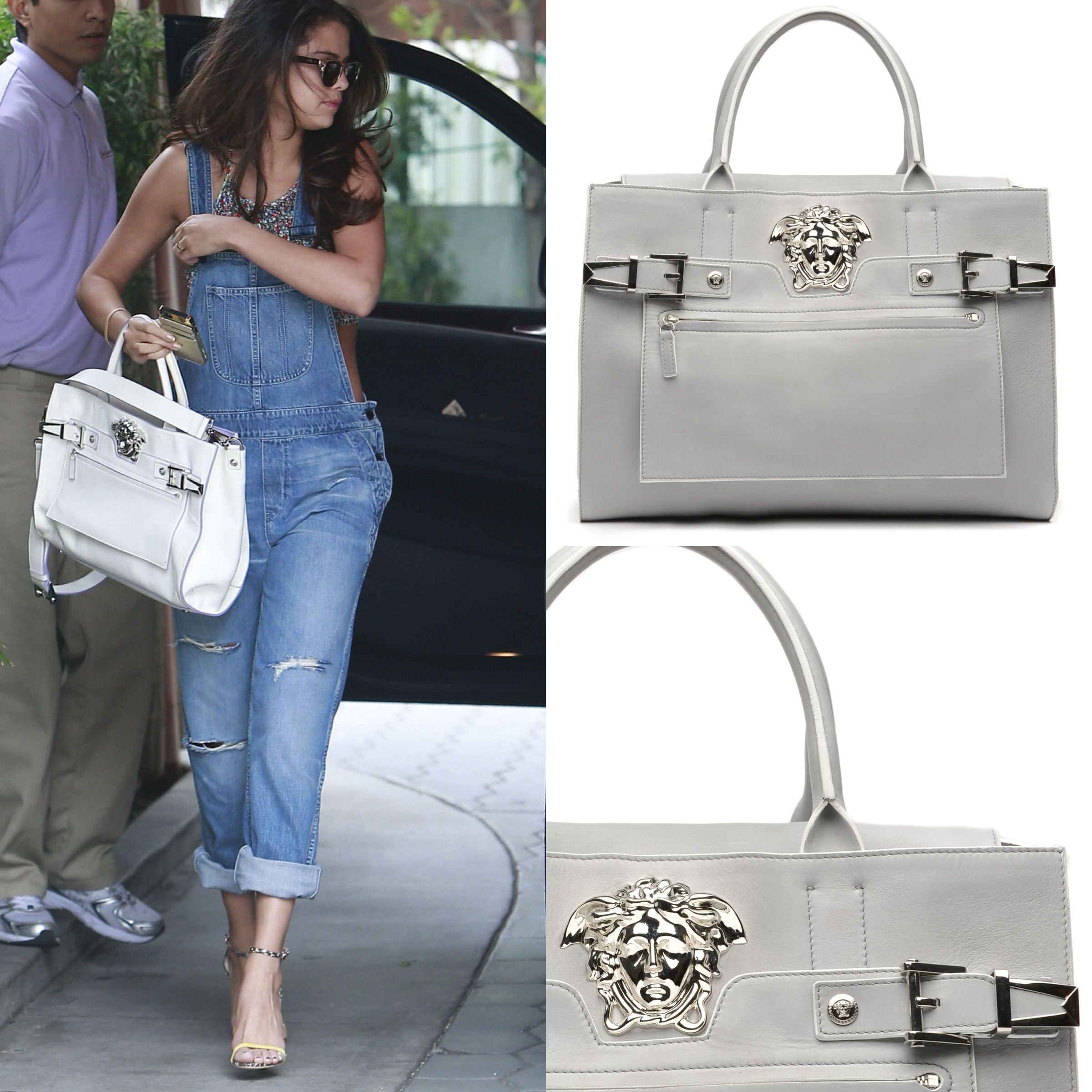 Film and music starlet Selena Gomez was spotted looking gorgeous carrying a white Versace Palazzo bag, highlighting her cool casual look. #VersacePalazzoBag #VersaceCelebrities