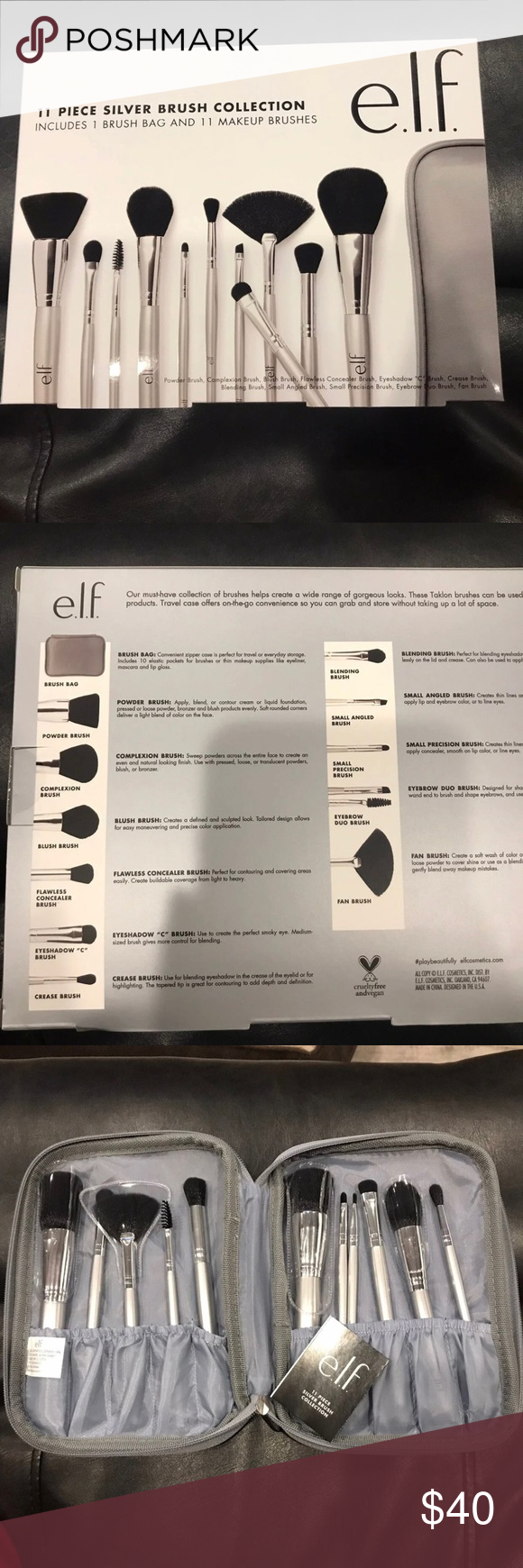 Elf cosmetic 11 piece brush set New in box Great gift idea Lovely silver colorbox