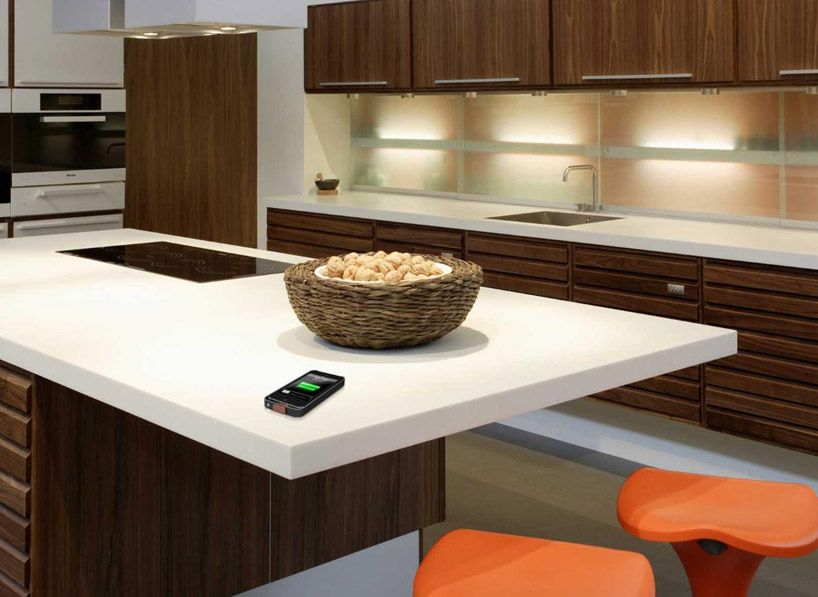 wirelessly charge your device on dupont corian tabletops cool sh t rh pinterest com Kitchen with Corian Top Table Corian Top Kitchen Tables