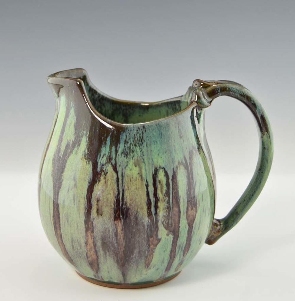 Handmade pottery Small Pitcher / Gravy Boat in Blue Green w Brown