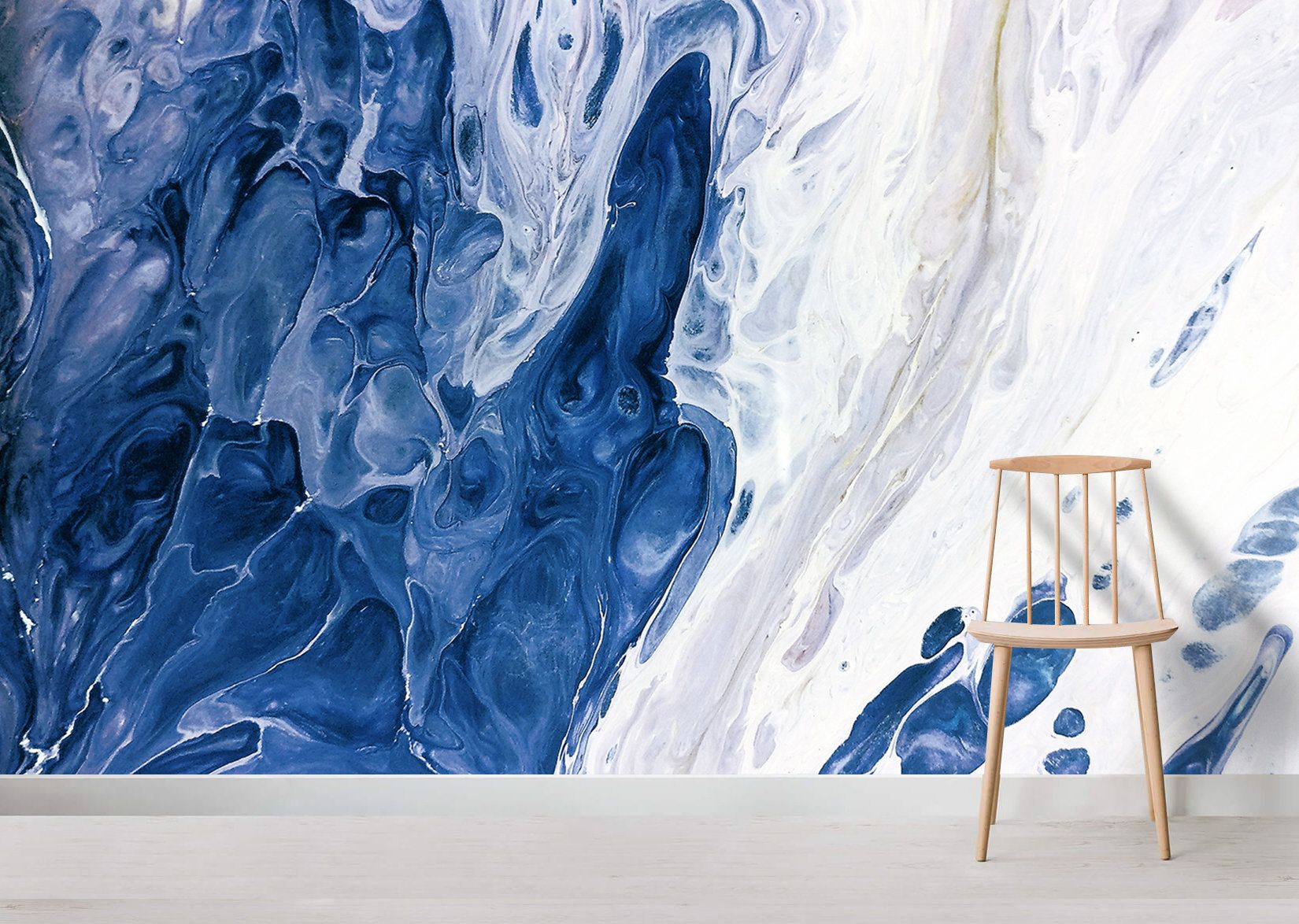 Abstract Blue White Marble Wallpaper Nature Wall Painting Handmade Painted Marble Wall Mural Living Room Decor Peel And Stick 2020