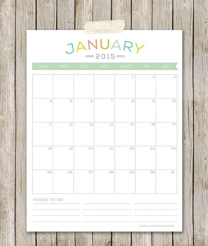 Printable Monthly Planner 2015: Free Printable 2015 Calendars
