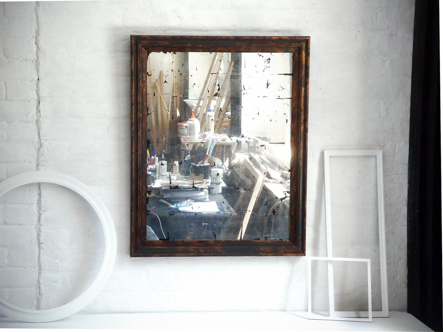 Large verre eglomise wall mirror with copper gilt frame this is a large verre eglomise wall mirror with copper gilt frame this is a large wall mirror are amipublicfo Images