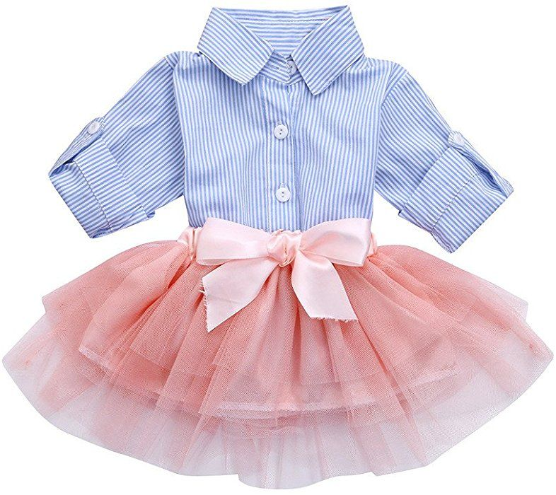 6838270a336c Amazon.com: Kehen Fashion Toddler Baby Girls 2pcs Button Down Blue Stripes  T-Shirt Tops+Bows Tutu Skirt Sets (Blue, 18-24 Months): Clothing