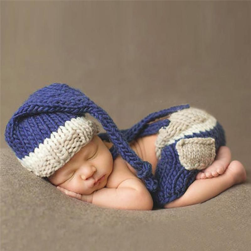 Blue Hat + Trousers Set Handmade Infant Baby Costume Knitted Beanies ... 0d8855f5a30d