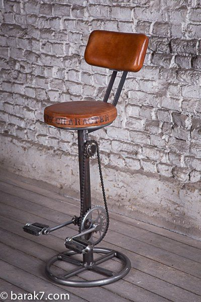 tabouret de bar industriel avec p dales et dossier. Black Bedroom Furniture Sets. Home Design Ideas