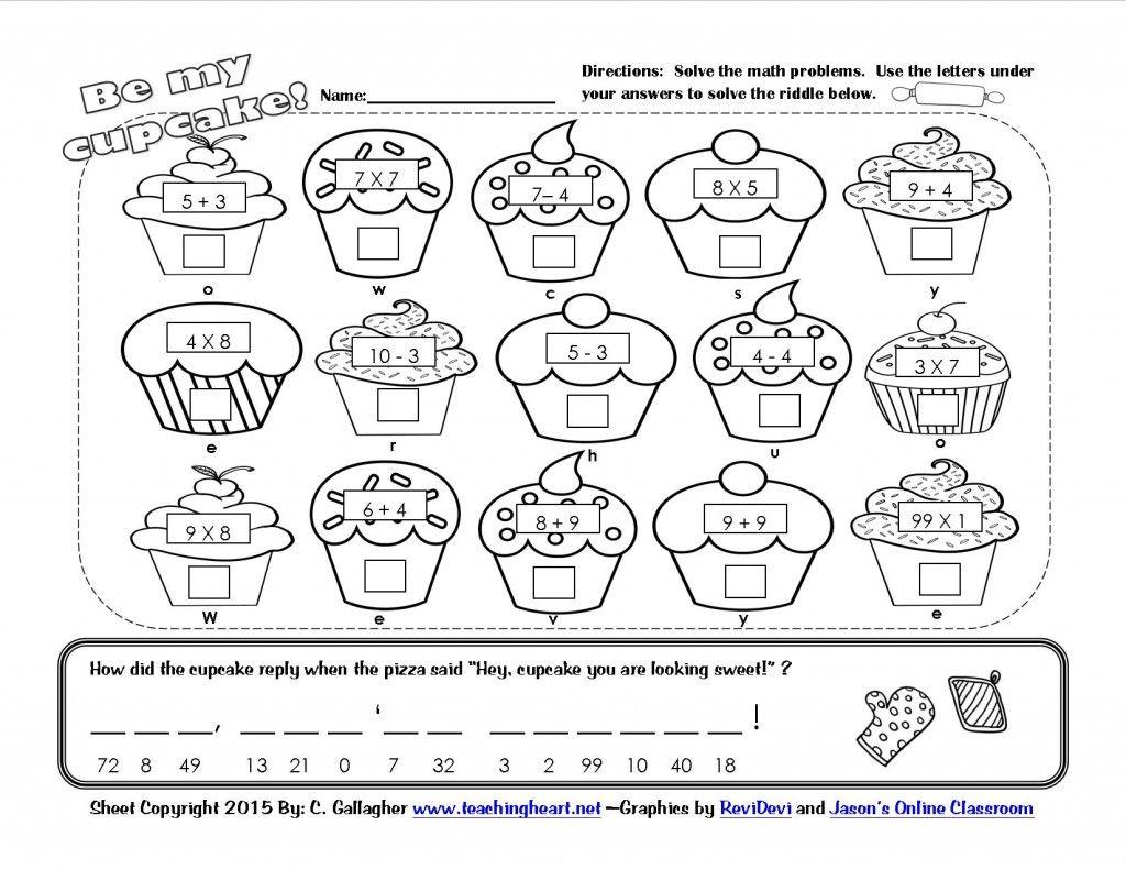 Worksheets Math Riddle Worksheets cupcake math riddle worksheet printable kids crafts pinterest printable