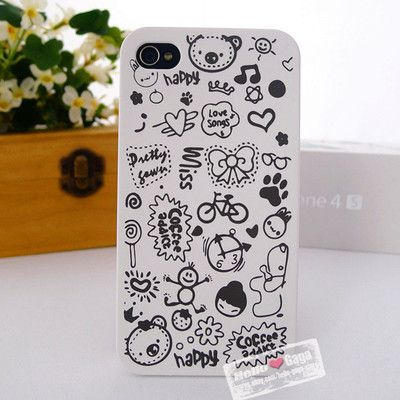 White Cute Magic Happy Case Cover for iPhone 4 4S+Free Screen Protector | eBay