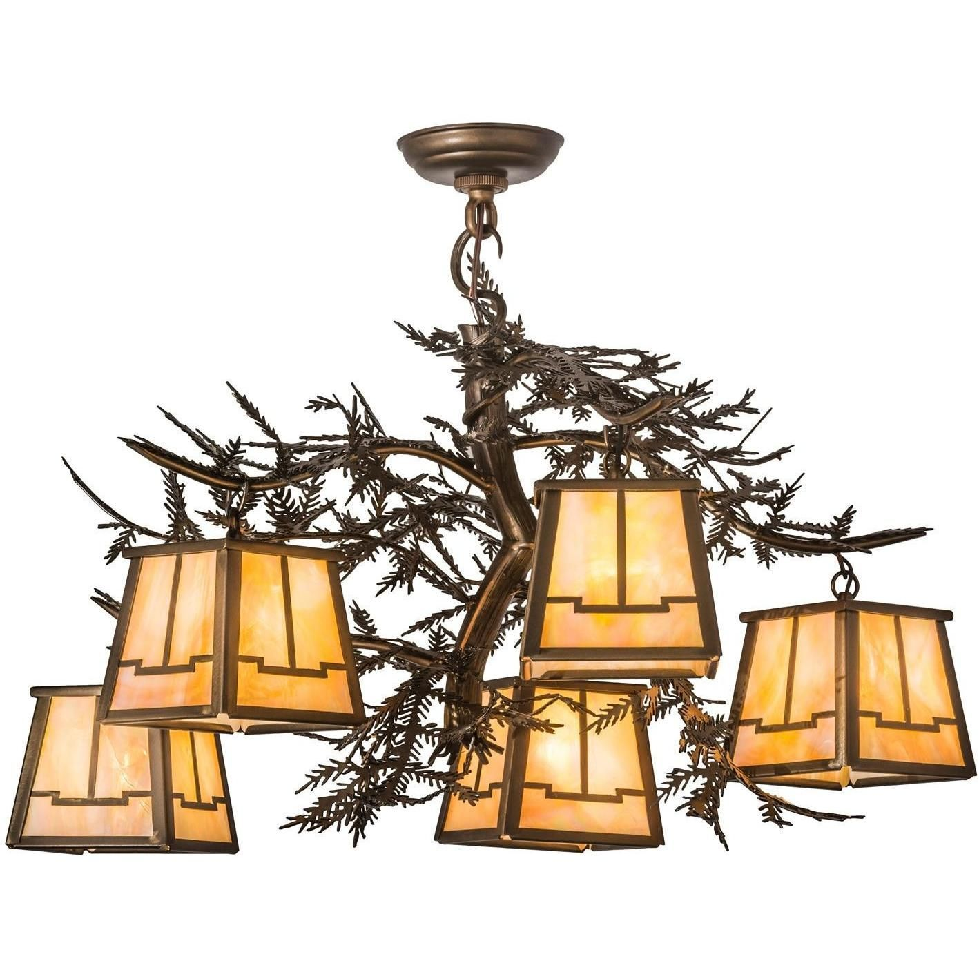 29 Inch W Pine Branch Valley View 5 Lt Chandelier