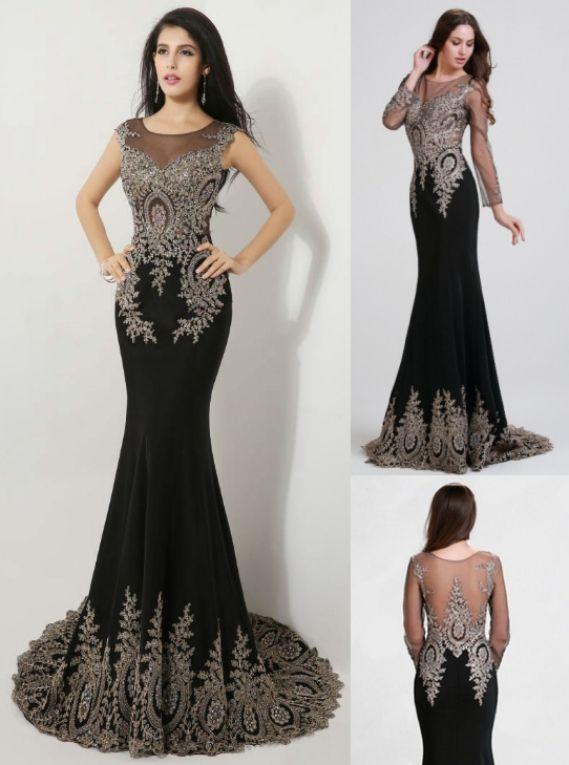 Black Prom Dresses, Long Sleeve Prom Dresses, Long Prom Dresses ...