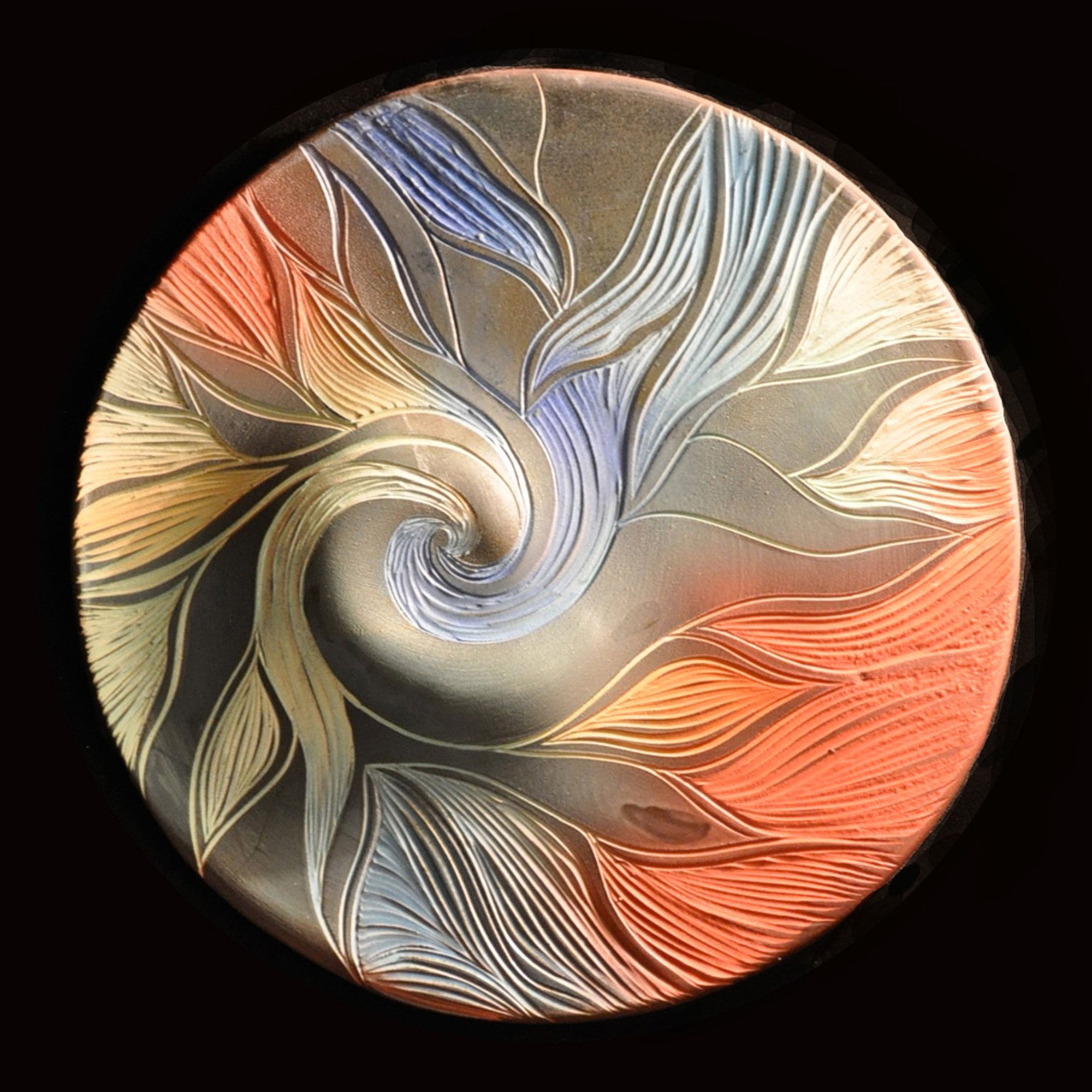 Artful Home Flowing Tendrils Wall Disc By Natalie Blake Ceramic Wall Art