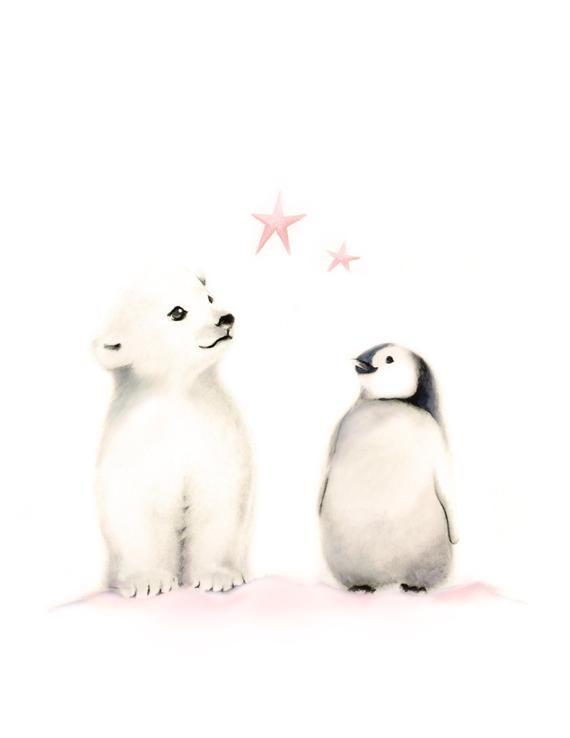 Penguin Nursery Art Arctic Animals Pencil Drawing Penguin   Etsy