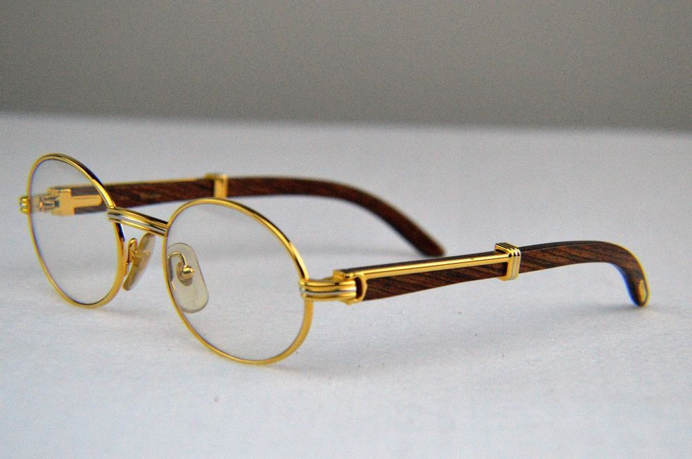 a1a40287bc Auth Cartier C Decor Bubinga Wood Gold Silver Plated Prescription Lens  Glasses  Cartier  Oval