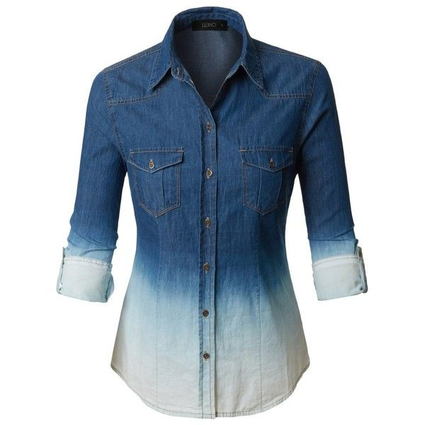 f04619e3dd LE3NO Womens Lightweight Button Down Denim Jean Shirt with Pockets ( 23) ❤  liked on Polyvore featuring tops