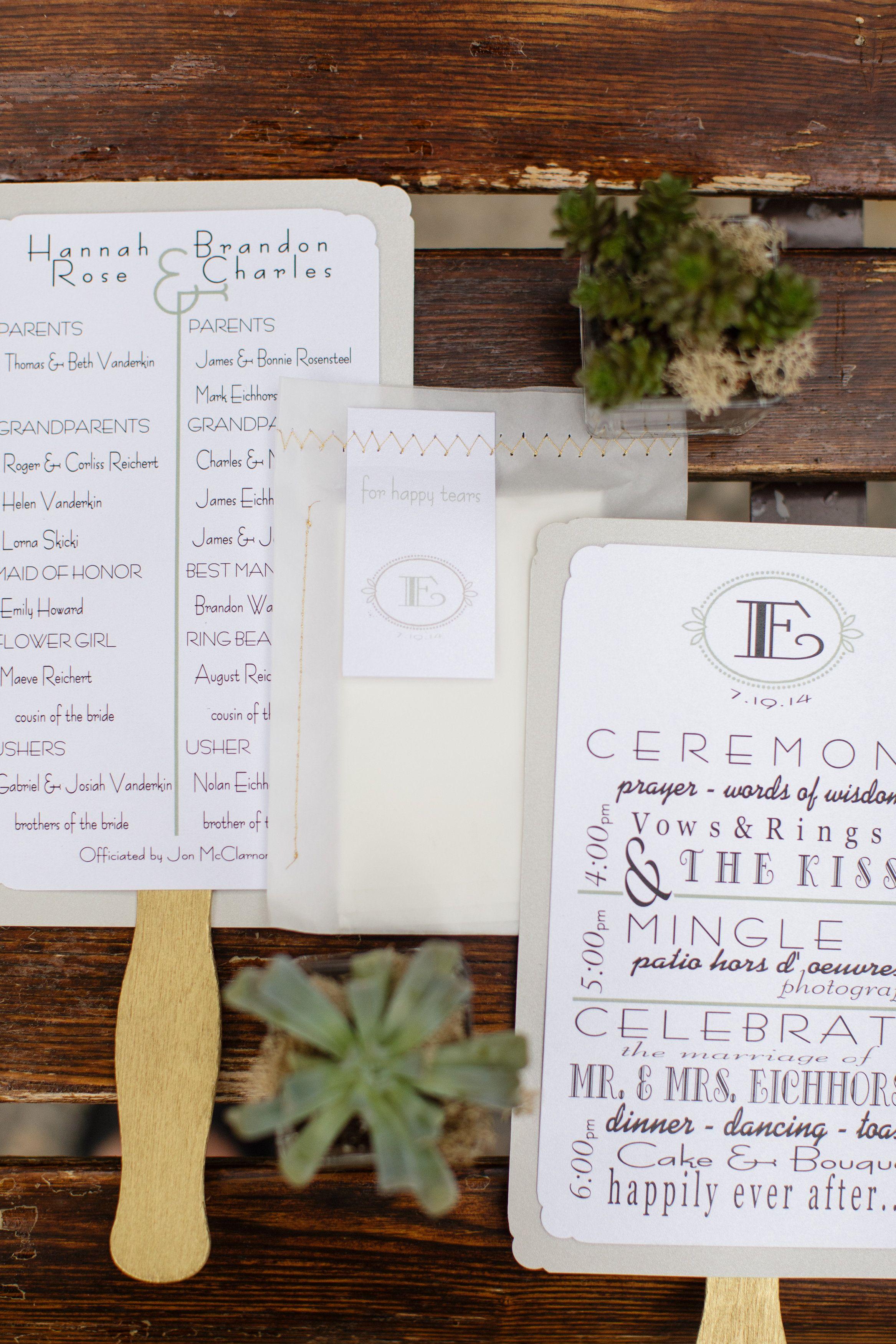 Diy wedding fan programs with gold metallic handles wedding