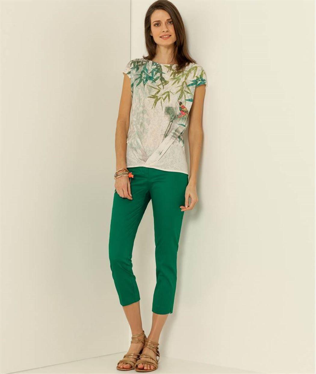 Pantalon femme raccourci fuselé VERT - Grain de Malice   Vêtements f03772f036f
